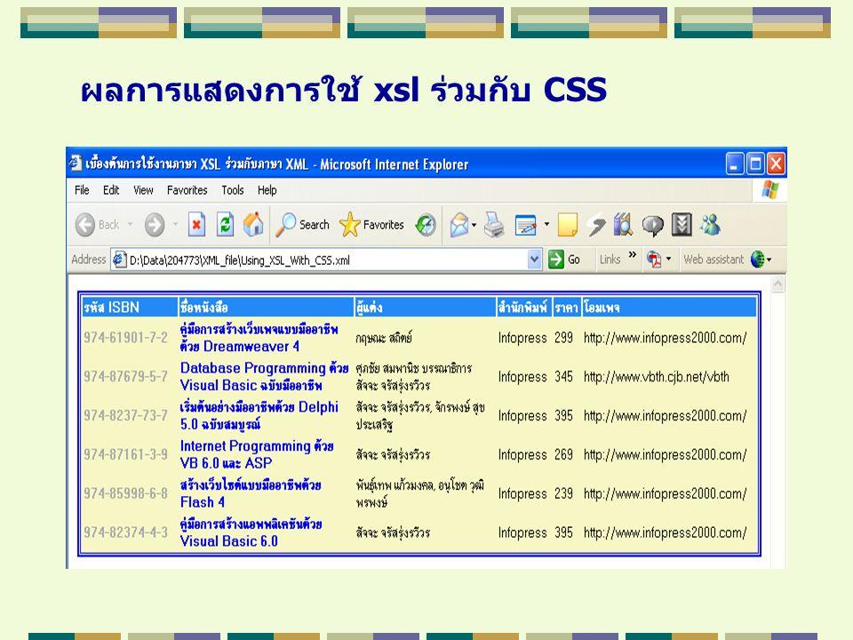 ผลการแสดงการใช้ xsl ร่วมกับ CSS