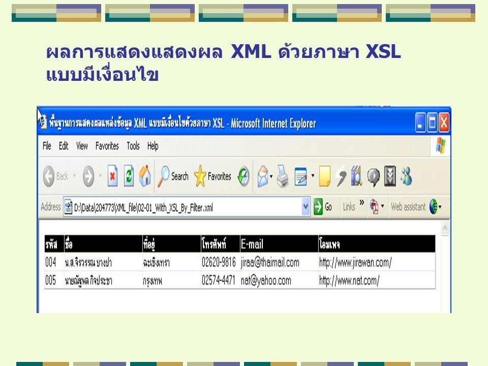 ผลการแสดงแสดงผล XML ด้วยภาษา XSL แบบมีเงื่อนไข