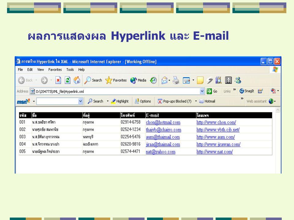 ผลการแสดงผล Hyperlink และ E-mail