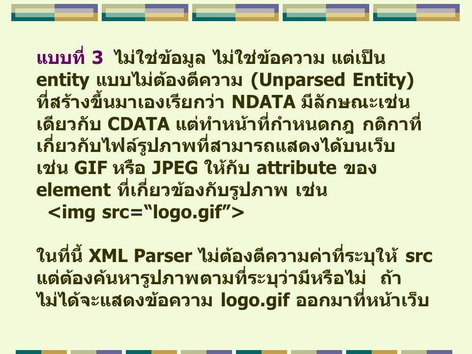 แบบที่ 3 ไม่ใช่ข้อมูล ไม่ใช่ข้อความ แต่เป็น entity แบบไม่ต้องตีความ (Unparsed Entity) ที่สร้างขึ้นมาเองเรียกว่า NDATA มีลักษณะเช่น เดียวกับ CDATA แต่ท