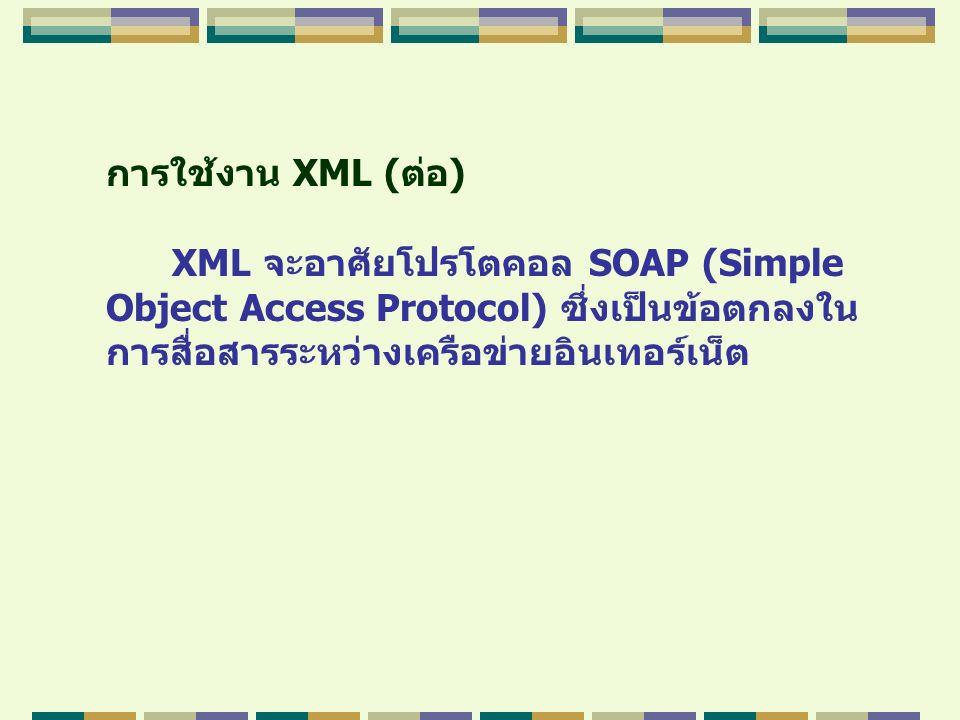 การใช้งาน XML (ต่อ) XML จะอาศัยโปรโตคอล SOAP (Simple Object Access Protocol) ซึ่งเป็นข้อตกลงใน การสื่อสารระหว่างเครือข่ายอินเทอร์เน็ต