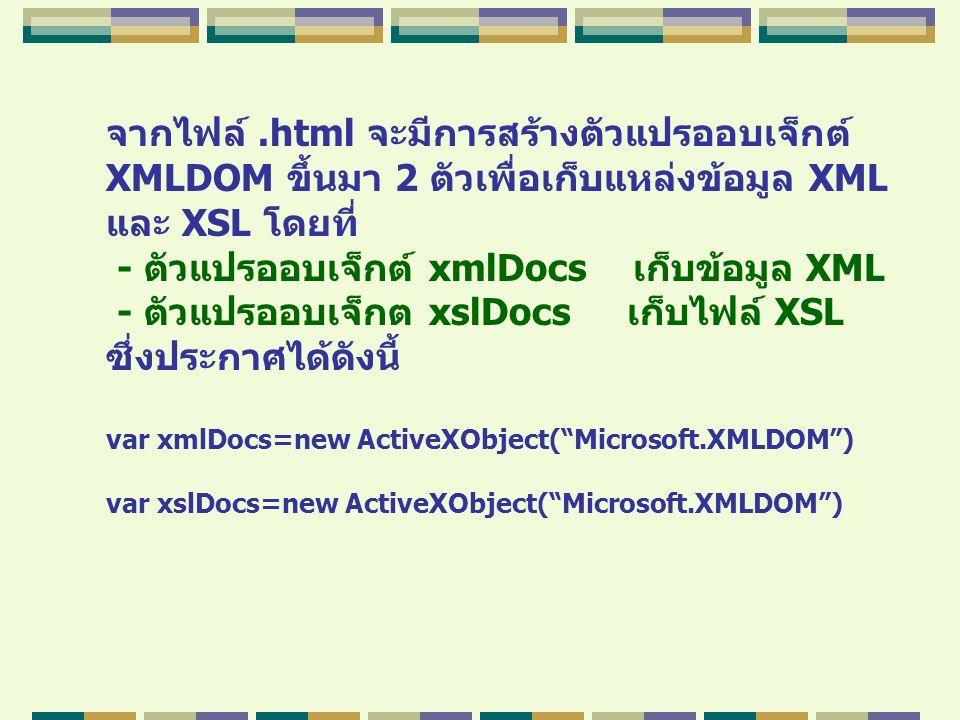 จากไฟล์.html จะมีการสร้างตัวแปรออบเจ็กต์ XMLDOM ขึ้นมา 2 ตัวเพื่อเก็บแหล่งข้อมูล XML และ XSL โดยที่ - ตัวแปรออบเจ็กต์ xmlDocs เก็บข้อมูล XML - ตัวแปรอ