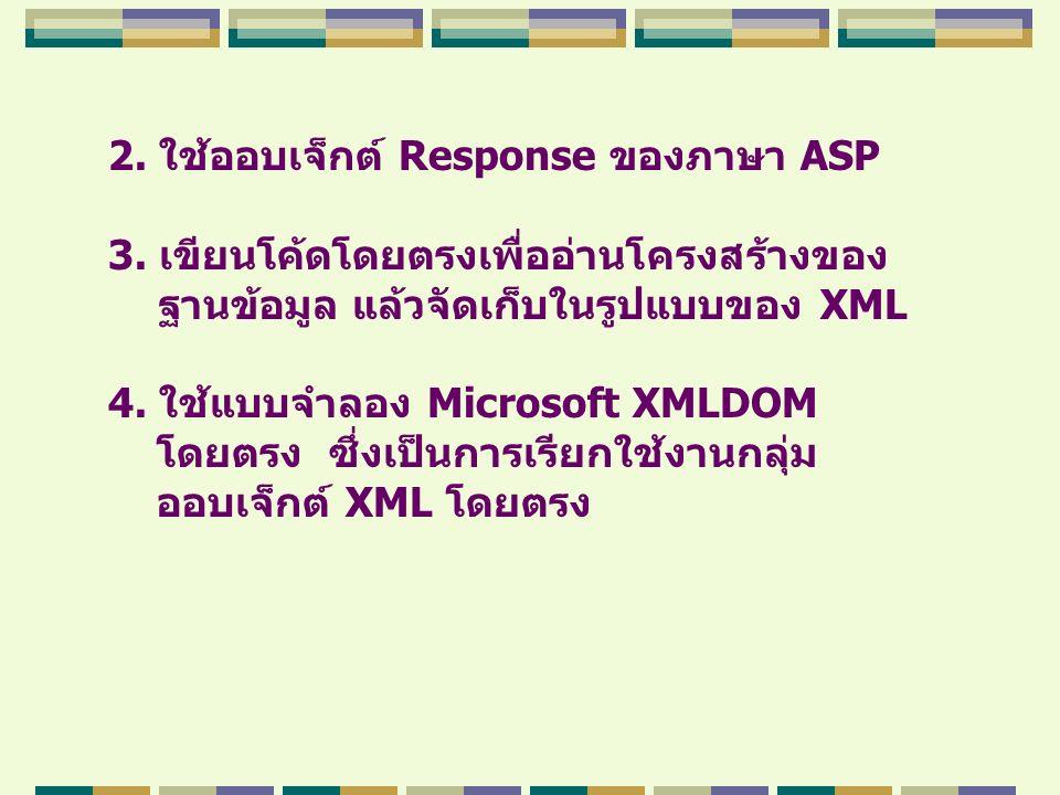 2. ใช้ออบเจ็กต์ Response ของภาษา ASP 3. เขียนโค้ดโดยตรงเพื่ออ่านโครงสร้างของ ฐานข้อมูล แล้วจัดเก็บในรูปแบบของ XML 4. ใช้แบบจำลอง Microsoft XMLDOM โดยต