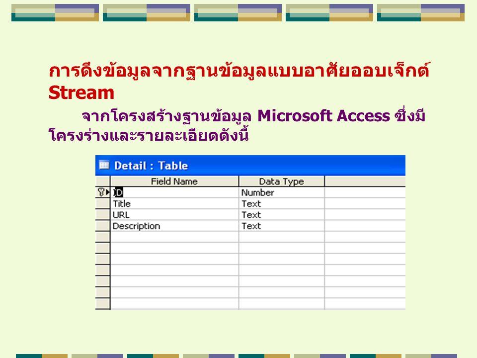การดึงข้อมูลจากฐานข้อมูลแบบอาศัยออบเจ็กต์ Stream จากโครงสร้างฐานข้อมูล Microsoft Access ซึ่งมี โครงร่างและรายละเอียดดังนี้