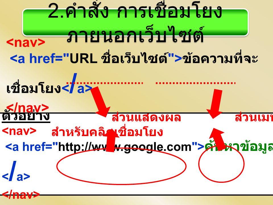 2. คำสั่ง การเชื่อมโยง ภายนอกเว็บไซต์ ข้อความที่จะ เชื่อมโยง ตัวอย่าง ค้นหาข้อมูล ส่วนแสดงผล ส่วนเมนู สำหรับคลิกเชื่อมโยง