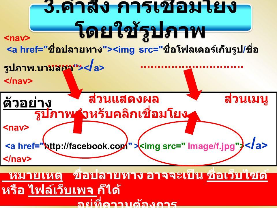 3. คำสั่ง การเชื่อมโยง โดยใช้รูปภาพ ตัวอย่าง ส่วนแสดงผล ส่วนเมนู รูปภาพสำหรับคลิกเชื่อมโยง หมายเหตุ ชื่อปลายทาง อาจจะเป็น ชื่อเว็บไซต์ หรือ ไฟล์เว็บเพ