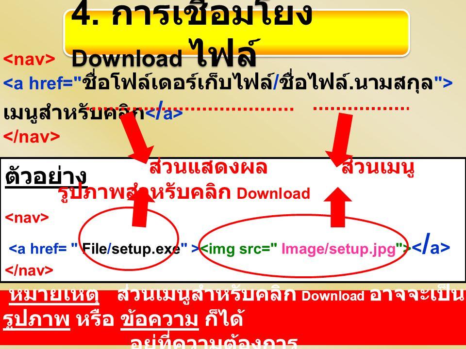 เมนูสำหรับคลิก ตัวอย่าง ส่วนแสดงผล ส่วนเมนู รูปภาพสำหรับคลิก Download 4. การเชื่อมโยง Download ไฟล์ หมายเหตุ ส่วนเมนูสำหรับคลิก Download อาจจะเป็น รูป