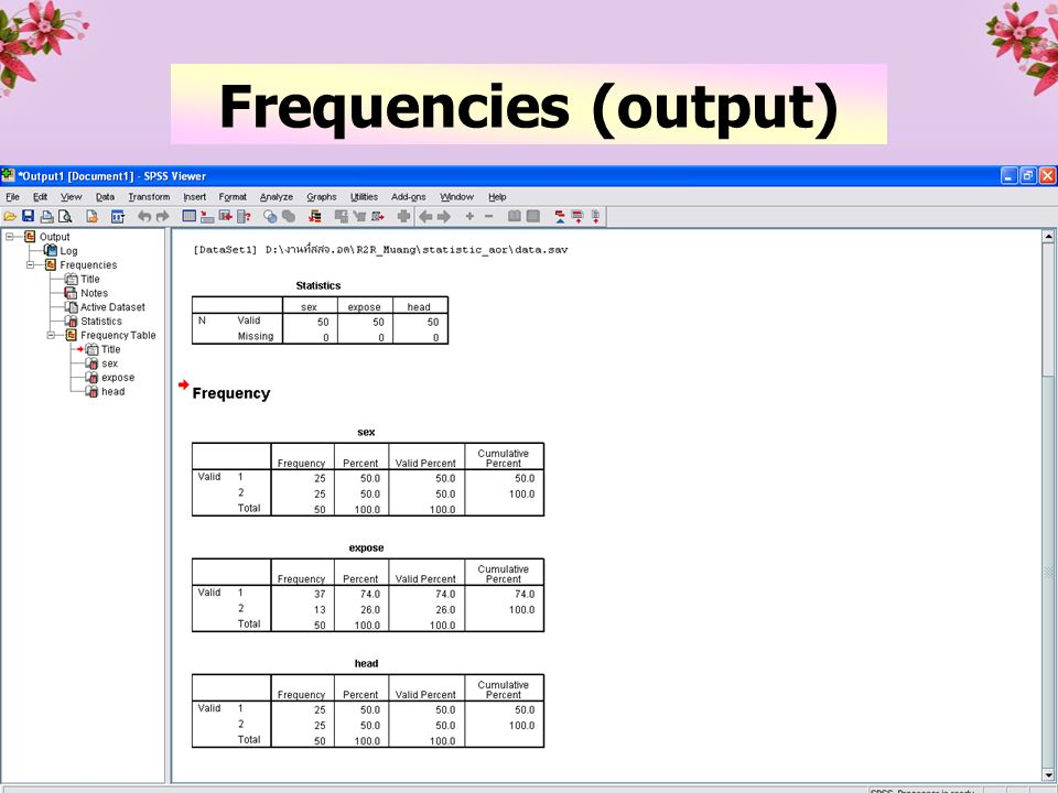 23 Frequencies (output)