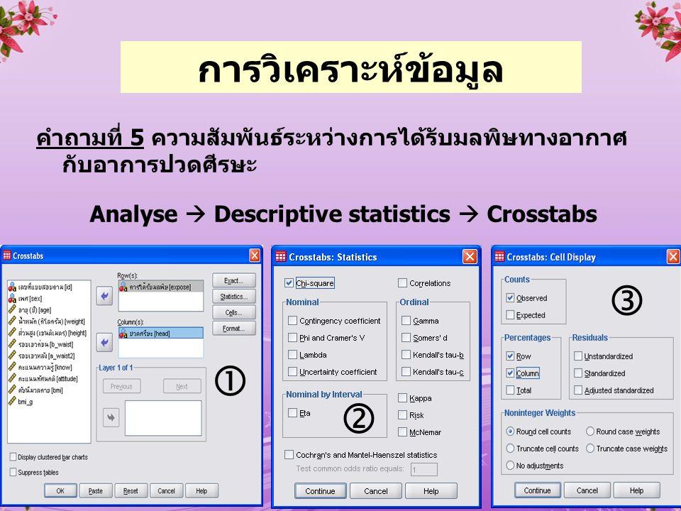 36 คำถามที่ 5 ความสัมพันธ์ระหว่างการได้รับมลพิษทางอากาศ กับอาการปวดศีรษะ Analyse  Descriptive statistics  Crosstabs    การวิเคราะห์ข้อมูล