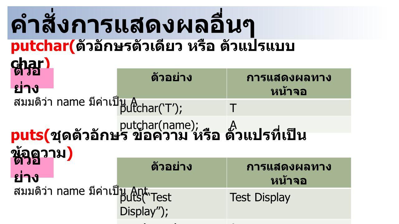 คำสั่งการแสดงผลอื่นๆ putchar( ตัวอักษรตัวเดียว หรือ ตัวแปรแบบ char) ตัวอ ย่าง การแสดงผลทาง หน้าจอ putchar('T');T putchar(name);A สมมติว่า name มีค่าเป็น A puts( ชุดตัวอักษร ข้อความ หรือ ตัวแปรที่เป็น ข้อความ ) ตัวอ ย่าง การแสดงผลทาง หน้าจอ puts( Test Display ); Test Display puts(name);Ant สมมติว่า name มีค่าเป็น Ant