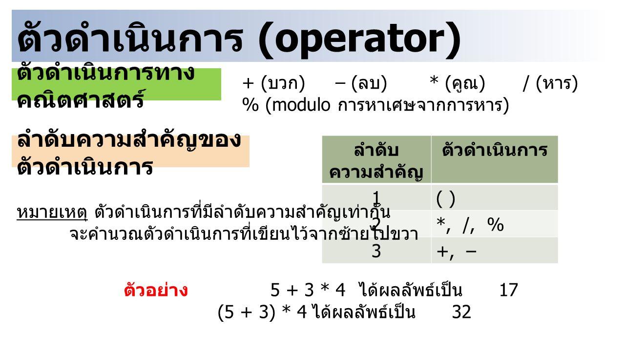 ตัวดำเนินการ (operator) + ( บวก )– ( ลบ )* ( คูณ )/ ( หาร ) % (modulo การหาเศษจากการหาร ) ตัวดำเนินการทาง คณิตศาสตร์ ลำดับความสำคัญของ ตัวดำเนินการ ลำดับ ความสำคัญ ตัวดำเนินการ 1( ) 2*, /, % 3+, – หมายเหตุ ตัวดำเนินการที่มีลำดับความสำคัญเท่ากัน จะคำนวณตัวดำเนินการที่เขียนไว้จากซ้ายไปขวา ตัวอย่าง 5 + 3 * 4 ได้ผลลัพธ์เป็น 17 (5 + 3) * 4 ได้ผลลัพธ์เป็น 32