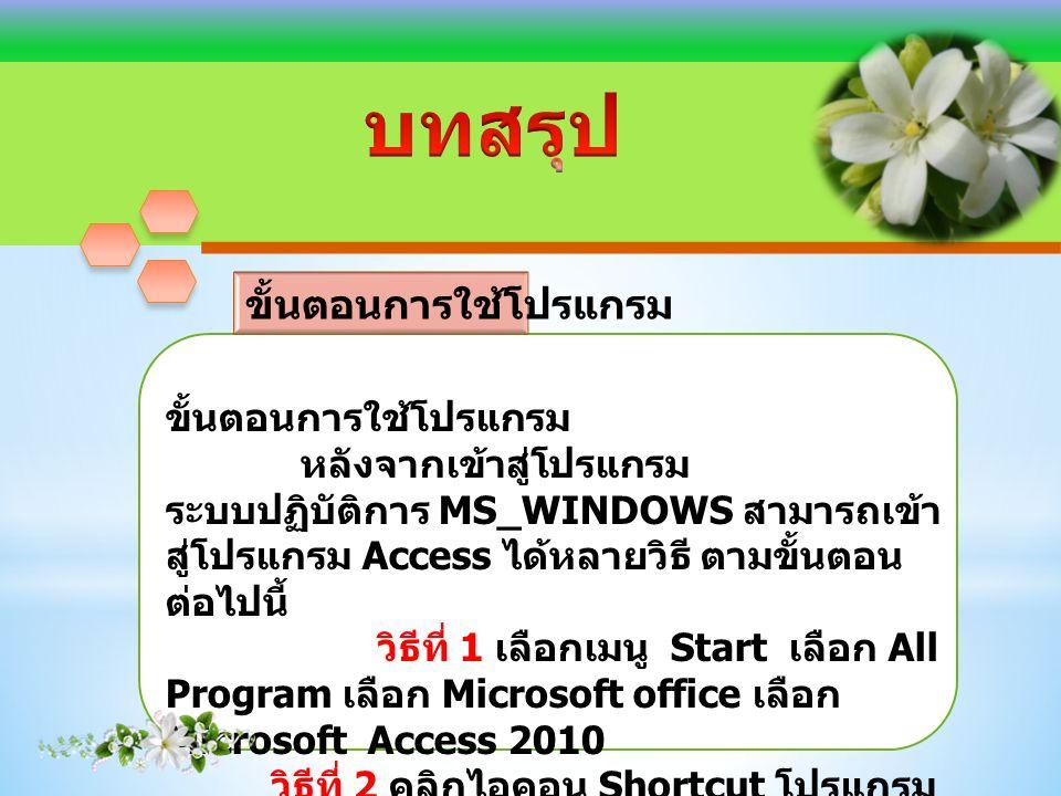ขั้นตอนการใช้โปรแกรม หลังจากเข้าสู่โปรแกรม ระบบปฏิบัติการ MS_WINDOWS สามารถเข้า สู่โปรแกรม Access ได้หลายวิธี ตามขั้นตอน ต่อไปนี้ วิธีที่ 1 เลือกเมนู Start เลือก All Program เลือก Microsoft office เลือก Microsoft Access 2010 วิธีที่ 2 คลิกไอคอน Shortcut โปรแกรม Access บนเดสก์ท็อป
