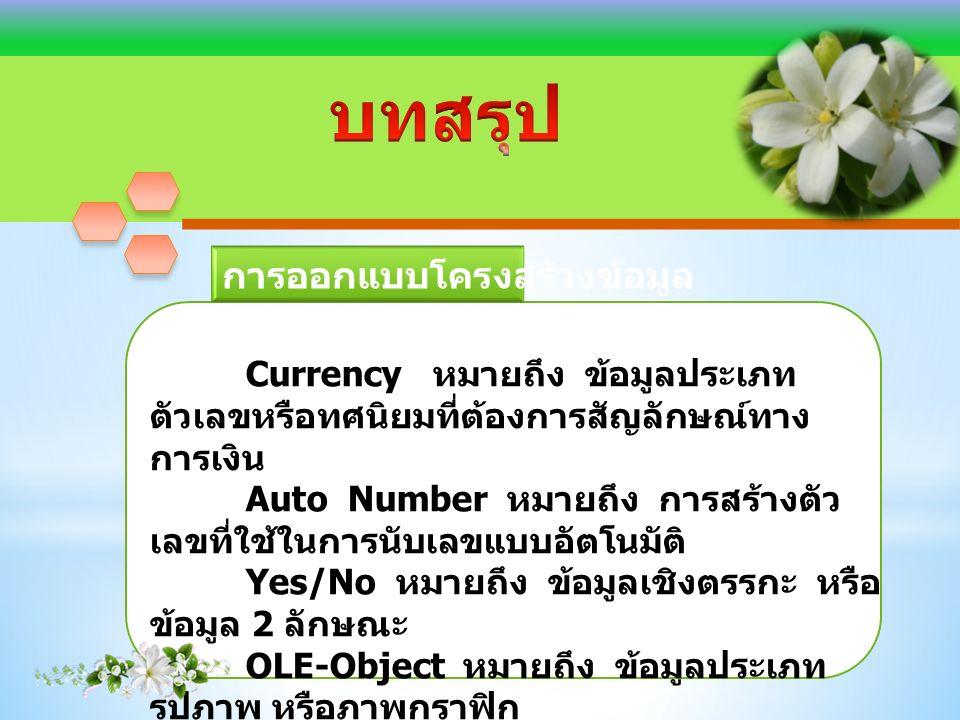 Currency หมายถึง ข้อมูลประเภท ตัวเลขหรือทศนิยมที่ต้องการสัญลักษณ์ทาง การเงิน Auto Number หมายถึง การสร้างตัว เลขที่ใช้ในการนับเลขแบบอัตโนมัติ Yes/No หมายถึง ข้อมูลเชิงตรรกะ หรือ ข้อมูล 2 ลักษณะ OLE-Object หมายถึง ข้อมูลประเภท รูปภาพ หรือภาพกราฟิก Hyperlink หมายถึง การเชื่อมโยงข้อมูล ไปยังแฟ้มอื่นๆ ภายนอก