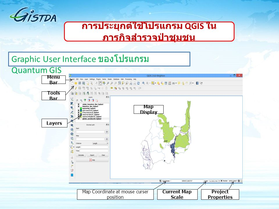 Menu Bar Tools Bar Layers Map Coordinate at mouse curser position Current Map Scale Project Properties Map Display Graphic User Interface ของโปรแกรม Q
