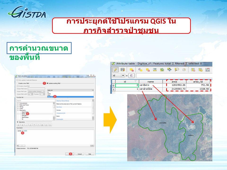 การคำนวณขนาด ของพื้นที่ การประยุกต์ใช้โปรแกรม QGIS ใน ภารกิจสำรวจป่าชุมชน