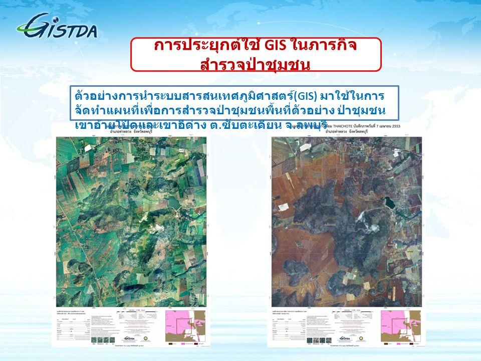 ตัวอย่างการนำระบบสารสนเทศภูมิศาสตร์ (GIS) มาใช้ในการ จัดทำแผนที่เพื่อการสำรวจป่าชุมชนพื้นที่ตัวอย่าง ป่าชุมชน เขาอ้ายโป๊ดและเขาอีด่าง ต. ซับตะเคียน จ.