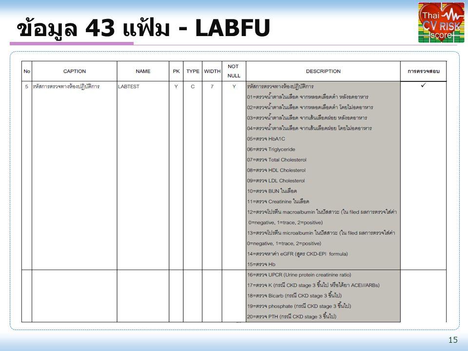 ข้อมูล 43 แฟ้ม - LABFU 15