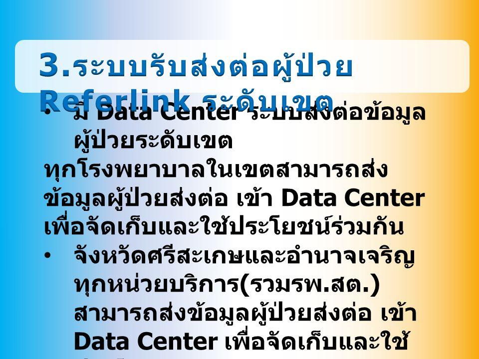 มี Data Center ระบบส่งต่อข้อมูล ผู้ป่วยระดับเขต ทุกโรงพยาบาลในเขตสามารถส่ง ข้อมูลผู้ป่วยส่งต่อ เข้า Data Center เพื่อจัดเก็บและใช้ประโยชน์ร่วมกัน จังหวัดศรีสะเกษและอำนาจเจริญ ทุกหน่วยบริการ ( รวมรพ.