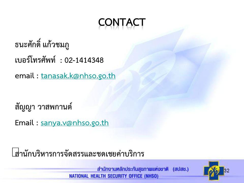 ธนะศักดิ์ แก้วชมภู เบอร์โทรศัพท์ : 02-1414348 email : tanasak.k@nhso.go.thtanasak.k@nhso.go.th สัญญา วาสพกานต์ Email : sanya.v@nhso.go.thsanya.v@nhso.go.th สำนักบริหารการจัดสรรและชดเชยค่าบริการ 32