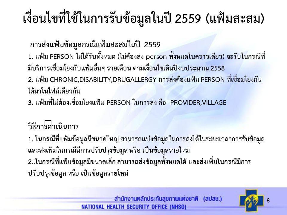 เงื่อนไขที่ใช้ในการรับข้อมูลในปี 2559 (แฟ้มสะสม) การส่งแฟ้มข้อมูลกรณีแฟ้มสะสมในปี 2559 1.