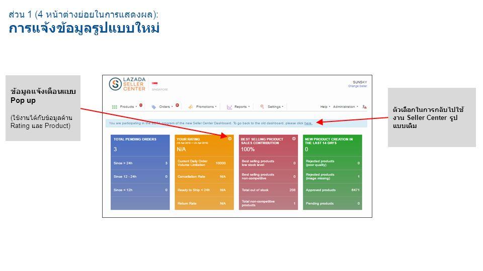 ส่วน 1 (4 หน้าต่างย่อยในการแสดงผล ): การแจ้งข้อมูลรูปแบบใหม่ ตัวเลือกในการกลับไปใช้ งาน Seller Center รูป แบบเดิม ข้อมูลแจ้งเตือนแบบ Pop up ( ใช้งานได้กับข้อมูลด้าน Rating และ Product)