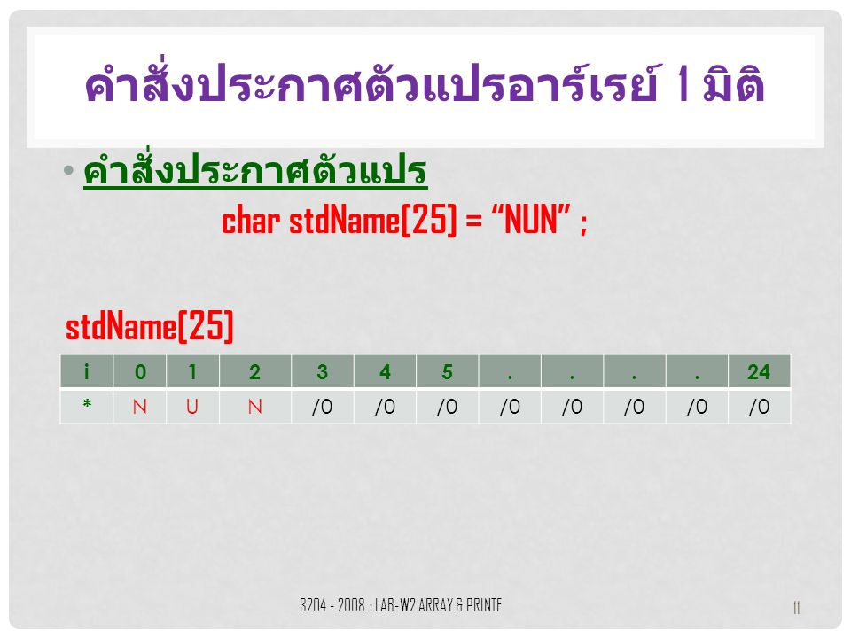 """คำสั่งประกาศตัวแปร คำสั่งประกาศตัวแปรอาร์เรย์ 1 มิติ 3204 - 2008 : LAB-W2 ARRAY & PRINTF 11 i012345....24 * NUN/0 char stdName[25] = """"NUN"""" ; stdName[2"""