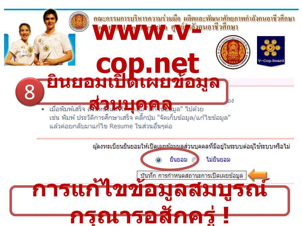 www.v- cop.net การแก้ไขข้อมูลสมบูรณ์ กรุณารอสักครู่ ! ยินยอมเปิดเผยข้อมูล ส่วนบุคคล 8 8