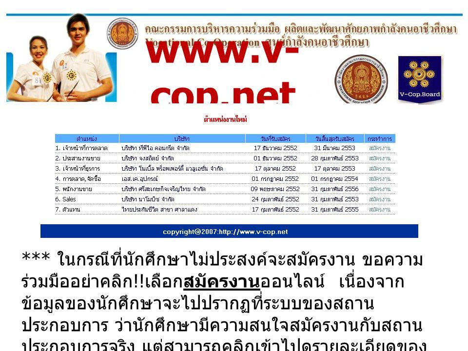 www.v- cop.net *** ในกรณีที่นักศึกษาไม่ประสงค์จะสมัครงาน ขอความ ร่วมมืออย่าคลิก !! เลือกสมัครงานออนไลน์ เนื่องจาก ข้อมูลของนักศึกษาจะไปปรากฏที่ระบบของ