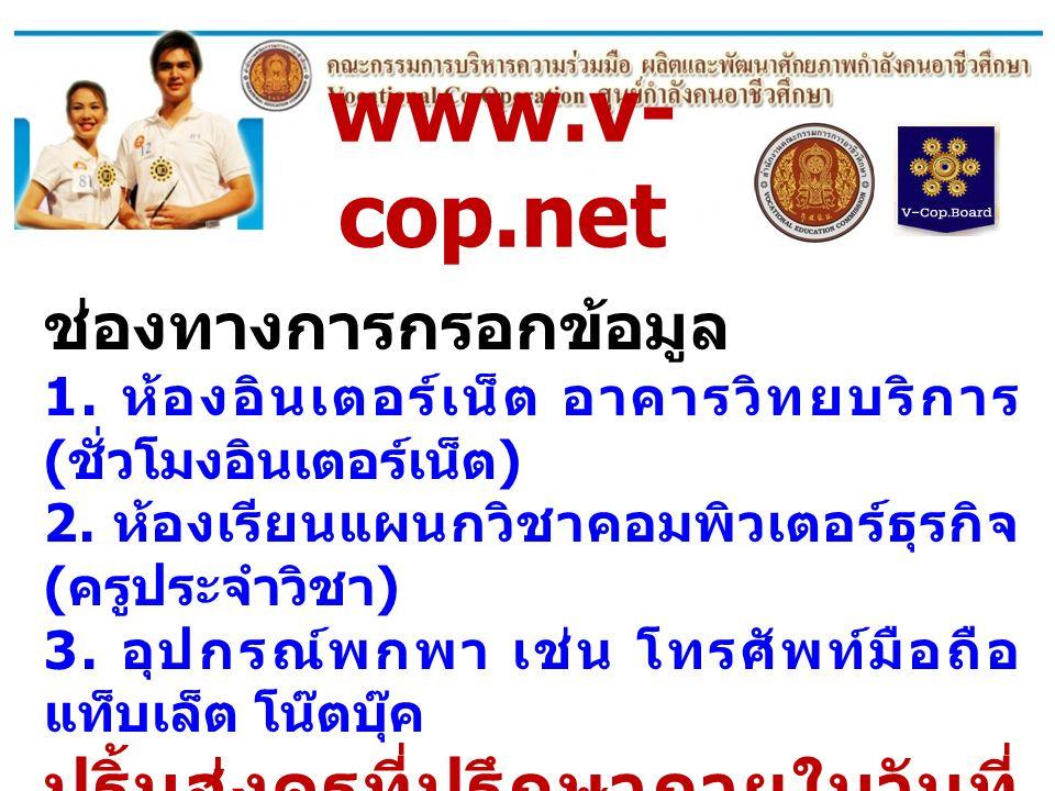 www.v- cop.net ช่องทางการกรอกข้อมูล 1. ห้องอินเตอร์เน็ต อาคารวิทยบริการ ( ชั่วโมงอินเตอร์เน็ต ) 2. ห้องเรียนแผนกวิชาคอมพิวเตอร์ธุรกิจ ( ครูประจำวิชา )