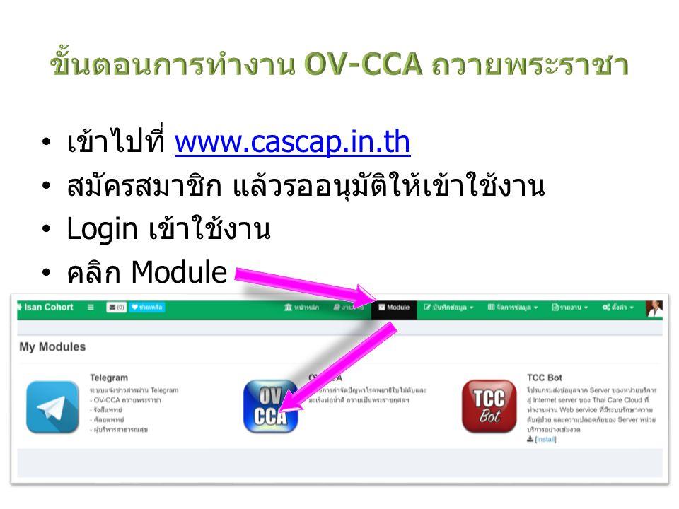 เข้าไปที่ www.cascap.in.thwww.cascap.in.th สมัครสมาชิก แล้วรออนุมัติให้เข้าใช้งาน Login เข้าใช้งาน คลิก Module