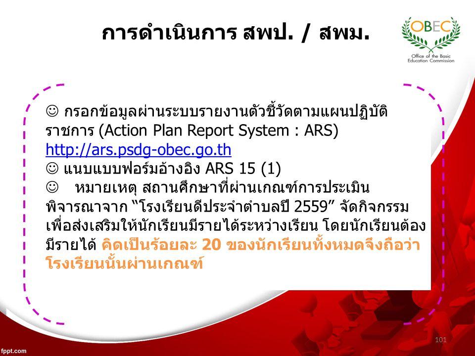 101 กรอกข้อมูลผ่านระบบรายงานตัวชี้วัดตามแผนปฏิบัติ ราชการ (Action Plan Report System : ARS) http://ars.psdg-obec.go.th แนบแบบฟอร์มอ้างอิง ARS 15 (1) หมายเหตุ สถานศึกษาที่ผ่านเกณฑ์การประเมิน พิจารณาจาก โรงเรียนดีประจำตำบลปี 2559 จัดกิจกรรม เพื่อส่งเสริมให้นักเรียนมีรายได้ระหว่างเรียน โดยนักเรียนต้อง มีรายได้ คิดเป็นร้อยละ 20 ของนักเรียนทั้งหมดจึงถือว่า โรงเรียนนั้นผ่านเกณฑ์ การดำเนินการ สพป.