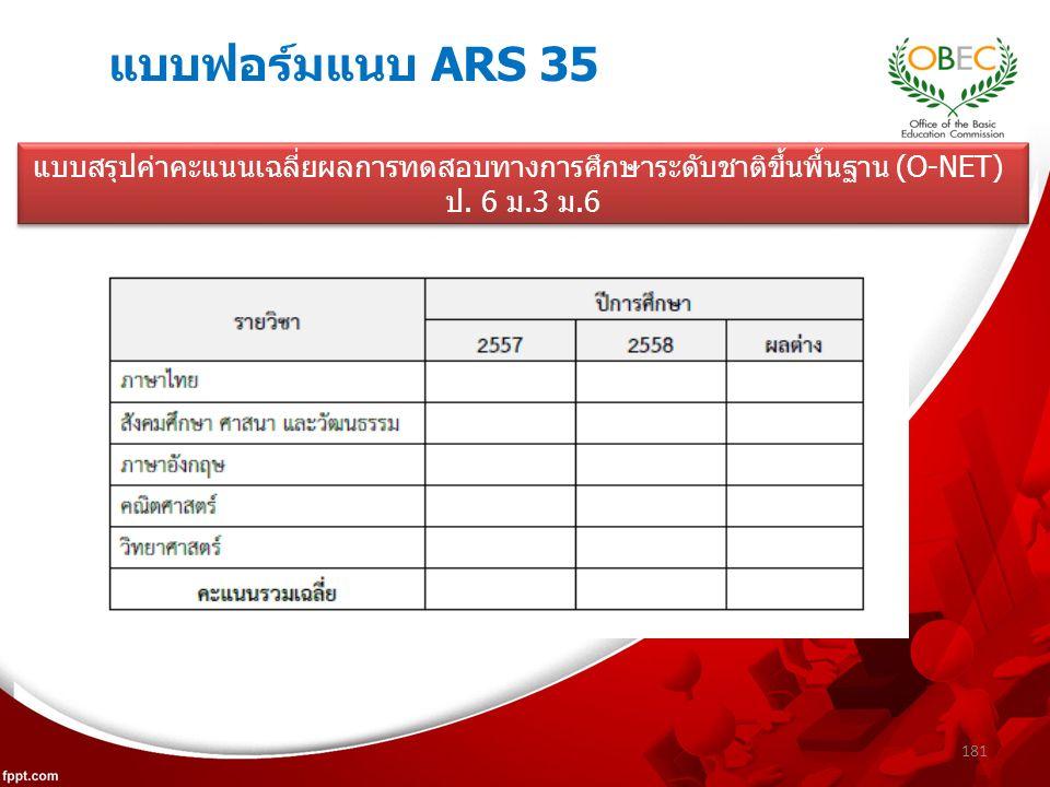 แบบฟอร์มแนบ ARS 35 181 แบบสรุปค่าคะแนนเฉลี่ยผลการทดสอบทางการศึกษาระดับชาติขึ้นพื้นฐาน (O-NET) ป.