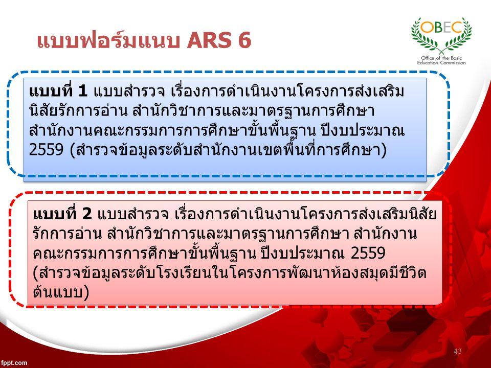 43 แบบฟอร์มแนบ ARS 6 แบบที่ 1 แบบสำรวจ เรื่องการดำเนินงานโครงการส่งเสริม นิสัยรักการอ่าน สำนักวิชาการและมาตรฐานการศึกษา สำนักงานคณะกรรมการการศึกษาขั้นพื้นฐาน ปีงบประมาณ 2559 (สำรวจข้อมูลระดับสำนักงานเขตพื้นที่การศึกษา) แบบที่ 2 แบบสำรวจ เรื่องการดำเนินงานโครงการส่งเสริมนิสัย รักการอ่าน สำนักวิชาการและมาตรฐานการศึกษา สำนักงาน คณะกรรมการการศึกษาขั้นพื้นฐาน ปีงบประมาณ 2559 (สำรวจข้อมูลระดับโรงเรียนในโครงการพัฒนาห้องสมุดมีชีวิต ต้นแบบ)