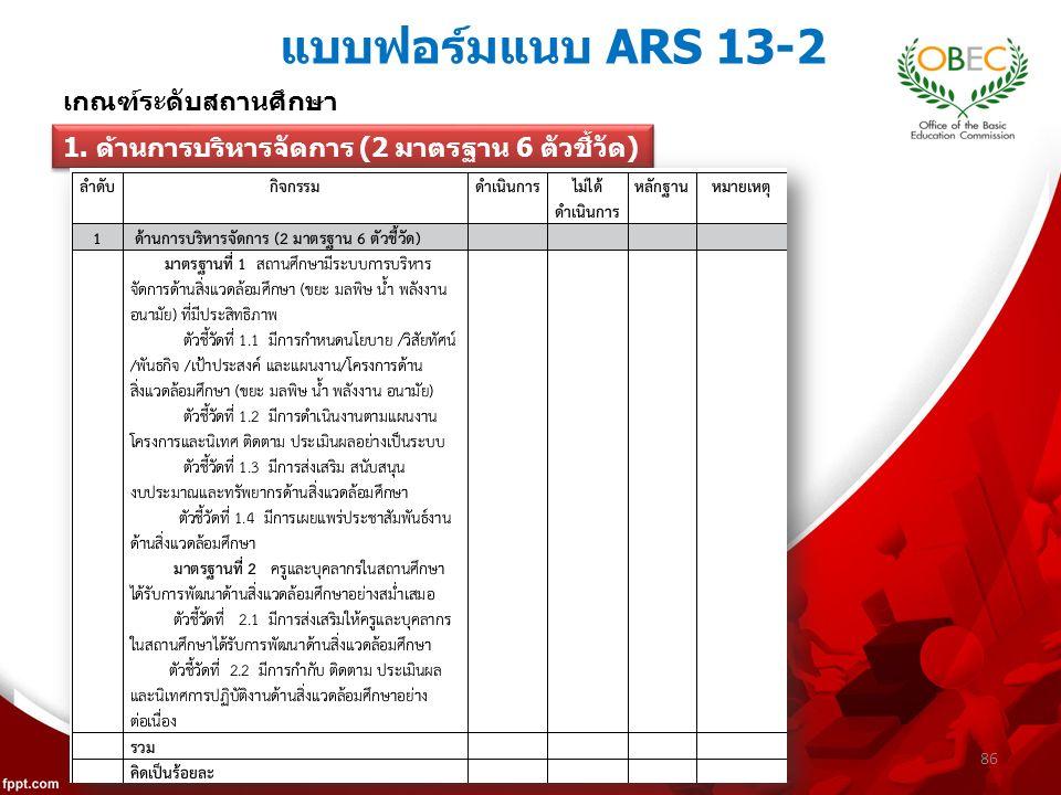 แบบฟอร์มแนบ ARS 13-2 86 เกณฑ์ระดับสถานศึกษา 1. ด้านการบริหารจัดการ (2 มาตรฐาน 6 ตัวชี้วัด)