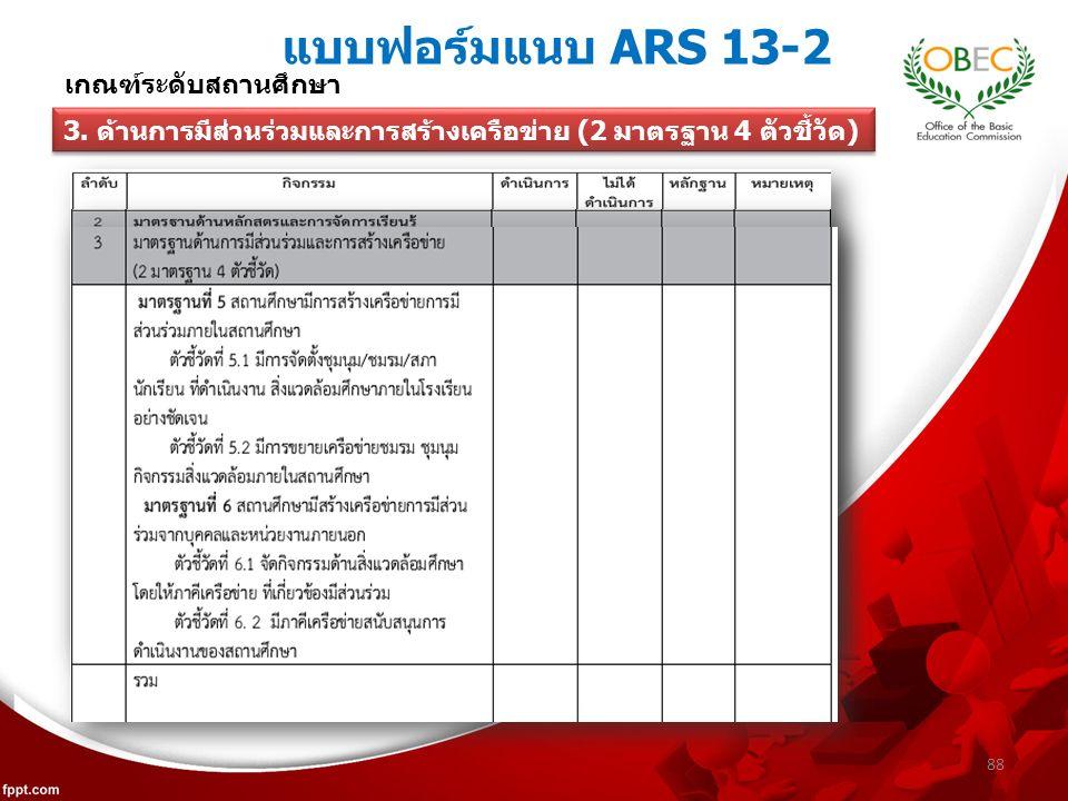 แบบฟอร์มแนบ ARS 13-2 88 เกณฑ์ระดับสถานศึกษา 3.