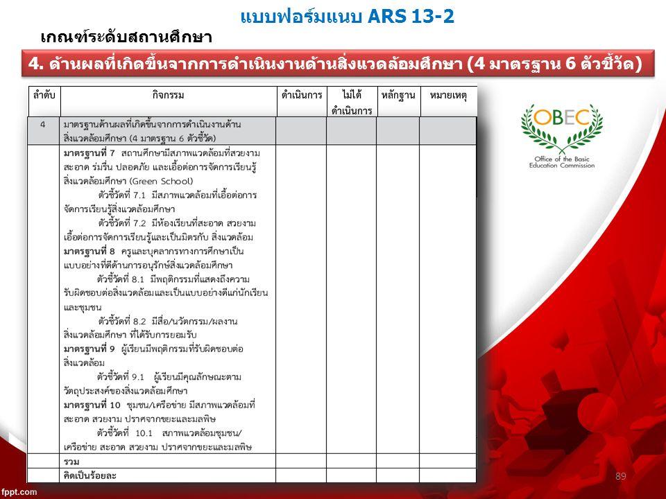แบบฟอร์มแนบ ARS 13-2 89 เกณฑ์ระดับสถานศึกษา 4.