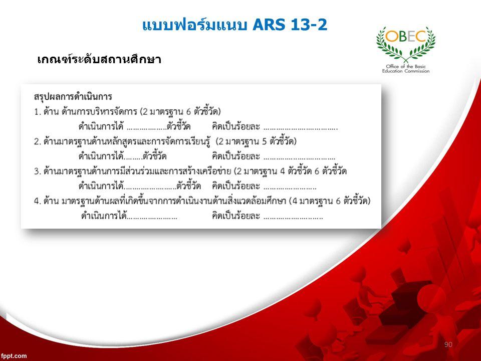 แบบฟอร์มแนบ ARS 13-2 90 เกณฑ์ระดับสถานศึกษา