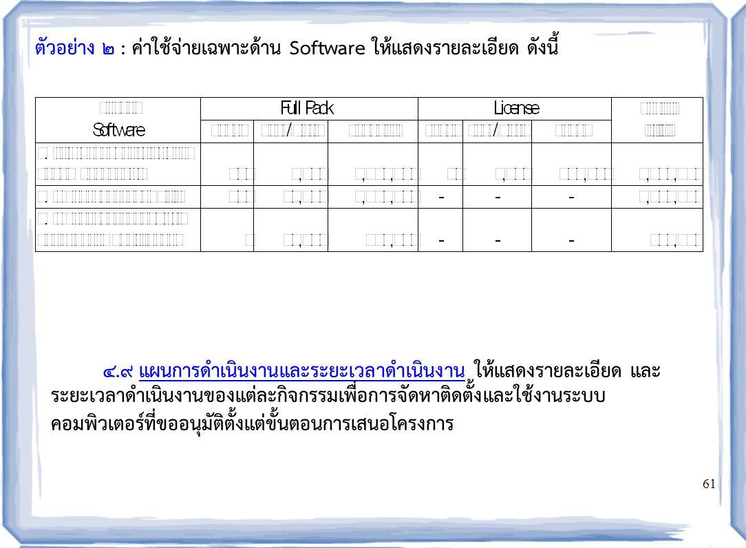 61 ตัวอย่าง ๒ : ค่าใช้จ่ายเฉพาะด้าน Software ให้แสดงรายละเอียด ดังนี้ 4.9 แผนการดำเนินงานและระยะเวลาดำเนินงาน ให้แสดงรายละเอียด และ ระยะเวลาดำเนินงานของแต่ละกิจกรรมเพื่อการจัดหาติดตั้งและใช้งานระบบ คอมพิวเตอร์ที่ขออนุมัติตั้งแต่ขั้นตอนการเสนอโครงการ