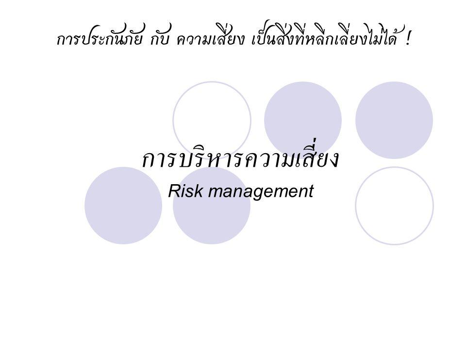 การบริหารความเสี่ยง Risk management การประกันภัย กับ ความเสี่ยง เป็นสิ่งที่หลีกเลี่ยงไม่ได้ !