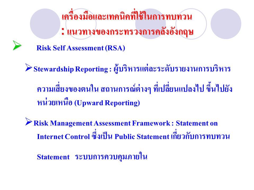   Risk Self Assessment (RSA)  Stewardship Reporting : ผู้บริหารแต่ละระดับรายงานการบริหาร ความเสี่ยงของตนใน สถานการณ์ต่างๆ ที่เปลี่ยนแปลงไป ขึ้นไปยัง หน่วยเหนือ (Upward Reporting)  Risk Management Assessment Framework : Statement on Internet Control ซึ่งเป็น Public Statement เกี่ยวกับการทบทวน Statement ระบบการควบคุมภายใน เครื่องมือและเทคนิคที่ใช้ในการทบทวน : แนวทางของกระทรวงการคลังอังกฤษ