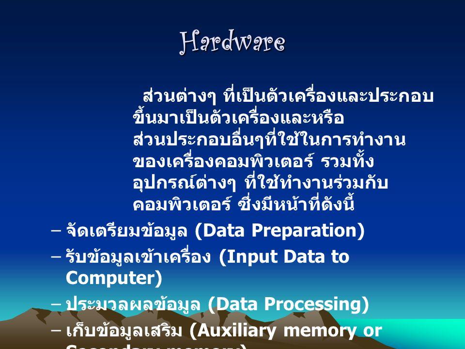 Hardware ส่วนต่างๆ ที่เป็นตัวเครื่องและประกอบ ขึ้นมาเป็นตัวเครื่องและหรือ ส่วนประกอบอื่นๆที่ใช้ในการทำงาน ของเครื่องคอมพิวเตอร์ รวมทั้ง อุปกรณ์ต่างๆ ที่ใช้ทำงานร่วมกับ คอมพิวเตอร์ ซึ่งมีหน้าที่ดังนี้ – จัดเตรียมข้อมูล (Data Preparation) – รับข้อมูลเข้าเครื่อง (Input Data to Computer) – ประมวลผลข้อมูล (Data Processing) – เก็บข้อมูลเสริม (Auxiliary memory or Secondary memory) – แสดงผลจากเครื่องคอมพิวเตอร์ (Output from Computer)
