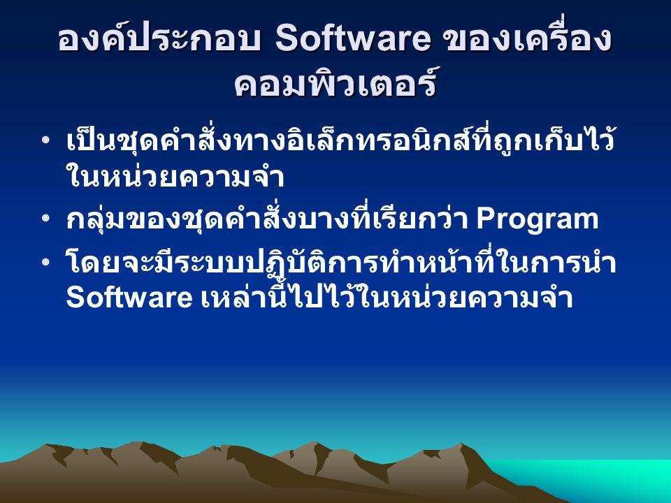 องค์ประกอบ Software ของเครื่อง คอมพิวเตอร์ เป็นชุดคำสั่งทางอิเล็กทรอนิกส์ที่ถูกเก็บไว้ ในหน่วยความจำ กลุ่มของชุดคำสั่งบางที่เรียกว่า Program โดยจะมีระบบปฏิบัติการทำหน้าที่ในการนำ Software เหล่านี้ไปไว้ในหน่วยความจำ