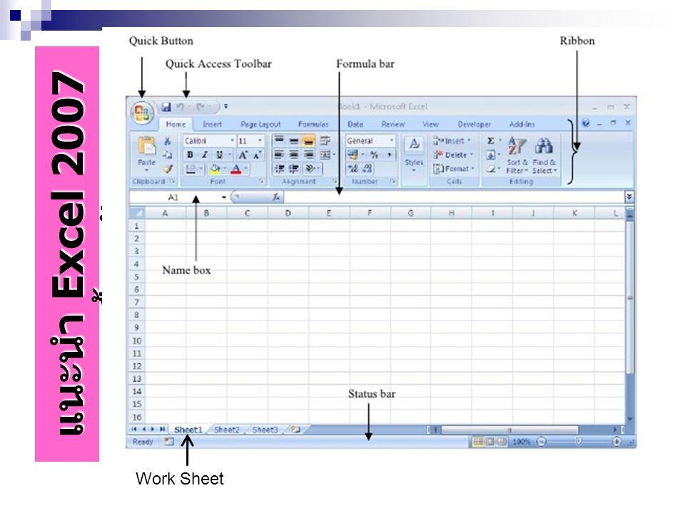 ความรู้ขั้นพื้นฐานเกี่ยวกับ MS Excel 2010 แผ่นงาน Work sheet คือ ตารางที่ประกอบด้วย เซลล์จำนวนมากประกอบด้วย Row 1,048,576 Column ตั้งแต่ A-XFD Cell เซลล์ คือ จุดตัดของ Column และ Row