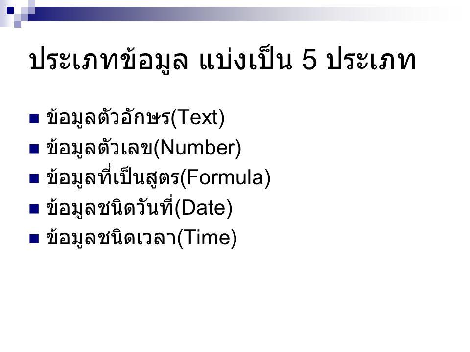 ประเภทข้อมูล แบ่งเป็น 5 ประเภท ข้อมูลตัวอักษร (Text) ข้อมูลตัวเลข (Number) ข้อมูลที่เป็นสูตร (Formula) ข้อมูลชนิดวันที่ (Date) ข้อมูลชนิดเวลา (Time)