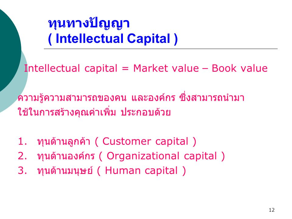 12 ทุนทางปัญญา ( Intellectual Capital ) Intellectual capital = Market value – Book value ความรู้ความสามารถของคน และองค์กร ซึ่งสามารถนำมา ใช้ในการสร้าง
