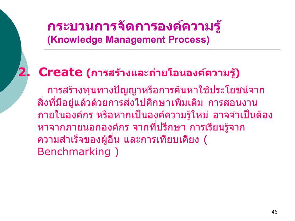 46 กระบวนการจัดการองค์ความรู้ (Knowledge Management Process) 2. Create ( การสร้างและถ่ายโอนองค์ความรู้ ) การสร้างทุนทางปัญญาหรือการค้นหาใช้ประโยชน์จาก