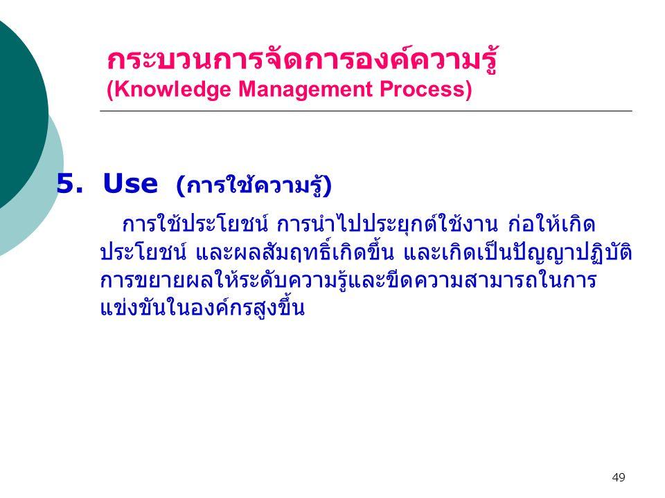 49 กระบวนการจัดการองค์ความรู้ (Knowledge Management Process) 5. Use ( การใช้ความรู้ ) การใช้ประโยชน์ การนำไปประยุกต์ใช้งาน ก่อให้เกิด ประโยชน์ และผลสั