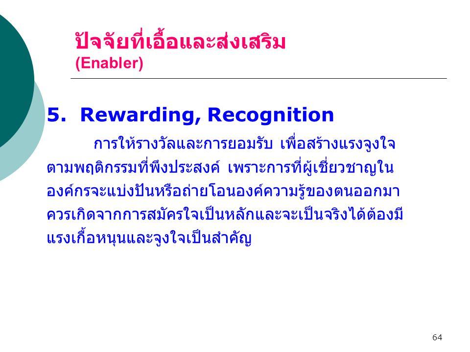 64 ปัจจัยที่เอื้อและส่งเสริม (Enabler) 5. Rewarding, Recognition การให้รางวัลและการยอมรับ เพื่อสร้างแรงจูงใจ ตามพฤติกรรมที่พึงประสงค์ เพราะการที่ผู้เช