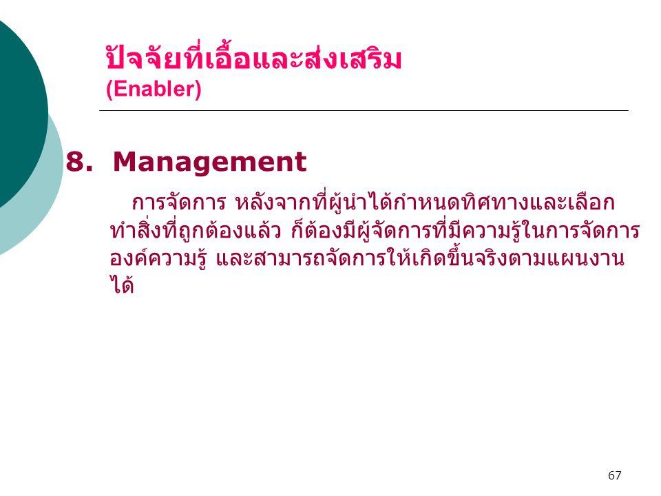 67 ปัจจัยที่เอื้อและส่งเสริม (Enabler) 8. Management การจัดการ หลังจากที่ผู้นำได้กำหนดทิศทางและเลือก ทำสิ่งที่ถูกต้องแล้ว ก็ต้องมีผู้จัดการที่มีความรู