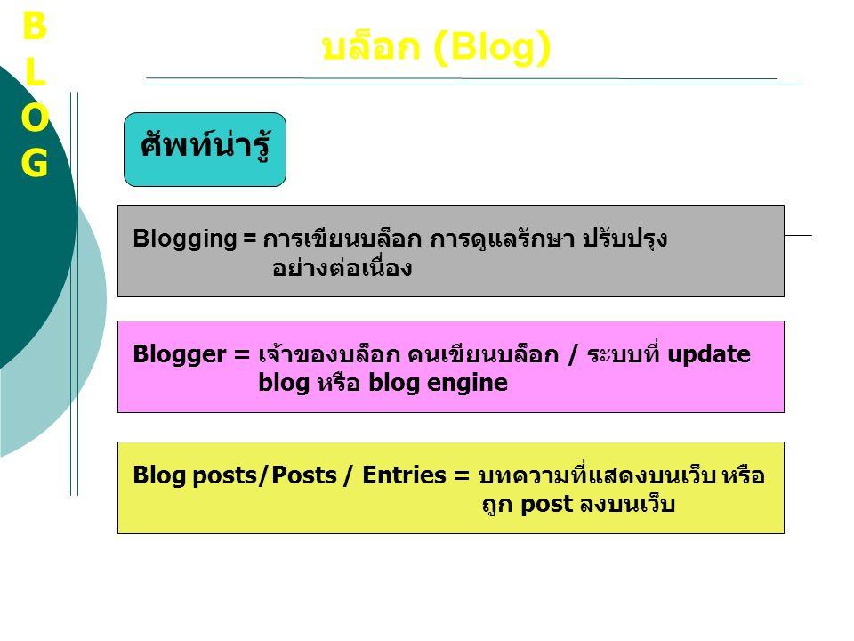 บล็อก (Blog) ศัพท์น่ารู้ Blogging = การเขียนบล็อก การดูแลรักษา ปรับปรุง อย่างต่อเนื่อง Blogger = เจ้าของบล็อก คนเขียนบล็อก / ระบบที่ update blog หรือ